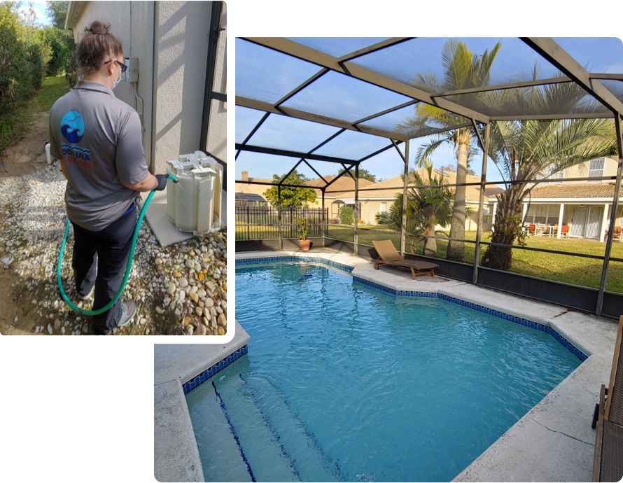Pool being cleaned